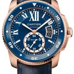 Ремонт часов Cartier Diver Blue Pink Gold Calibre de Cartier Brushed Polished в мастерской на Неглинной