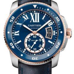 Ремонт часов Cartier Diver Blue Stainless Steel Pink Gold Calibre de Cartier Brushed Polished в мастерской на Неглинной