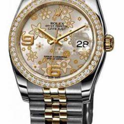 Ремонт часов Rolex 116243 silver floral dial jublilee Datejust Ladies 36mm - YG Steel в мастерской на Неглинной