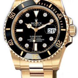 Ремонт часов Rolex 116618 black dial 8 diamond Submariner Date Yellow Gold в мастерской на Неглинной